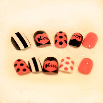 24 PCS Color Block Stripe and Polka Dot Pattern Nail Art with Letters