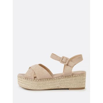 Espadrille Platform Faux Suede Criss Cross Strap Wedge Sandal TAUPE
