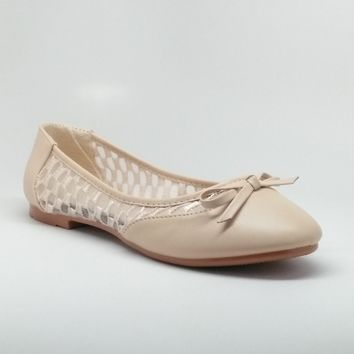 Women's Flats with Embroidered Mesh Detail