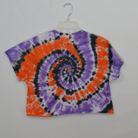 Tie Dye Shirt MED Crop Top Hippie Soft Grunge Witch Oversize Funky Spiral Tee Shirt Womens Clothing Handmade Tie Die Orange Black Purple