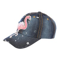 Blue Pink Flamingo Patch Distessed Denim Hat And Cap