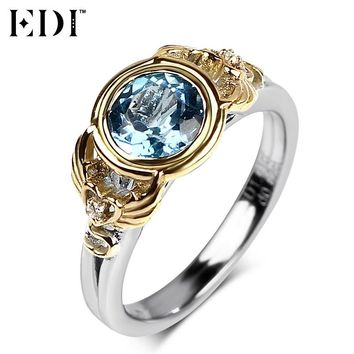 EDI 925 Sterling Silver Wedding Ring for Women Natural Blue Topaz Silver Rings Angels Wing and Love Heart Charms Design
