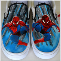 Custom Painted Spiderman Men Shoes - Womens Shoes, Unisex Shoes - Vans