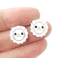 Lion Shaped Adorable Animal Stud Earrings in Silver with Allergy Free Posts