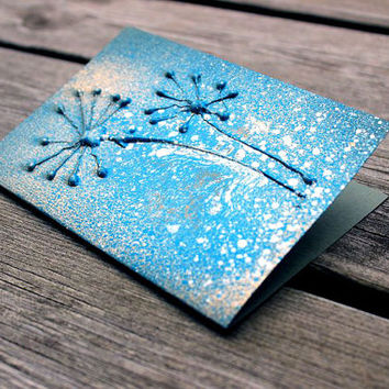 Mixed media fancy greeting card - Turquoise and gold dried dandelions