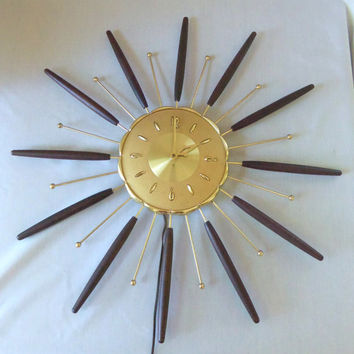 Mid Century Sunburst Wall Clock Starburst Atomic Mad Men