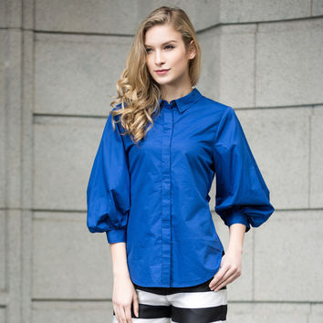 Cotton Lantern Sleeve Blouse