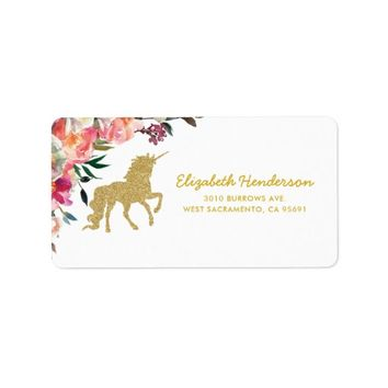 Gold Glitter Unicorn | Floral Personalized Label