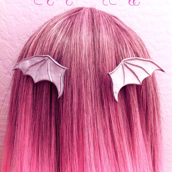 Silver Bat Medieval Fairy Tale Wings Majestic Magical Hair Clips