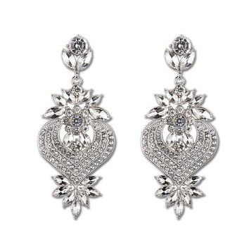 d4cf4d3b4 Gold Silver Large Drop Earrings Bridal Flower Shape Crystal Earr