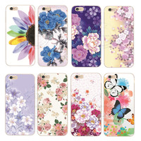 2015 New Arrival Fashion Romantic flower Colorfull Painted Shell Hard Cover Case For Apple iPhone 6 6S 1piece Free Shipping