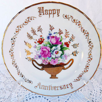 Vintage Happy Anniversary Plate, 7 inch,Vintage Porcelain Plate,Norcrest Fine China,B 100,Gold Trim Plate,Pink Rose Victorian Bouquet