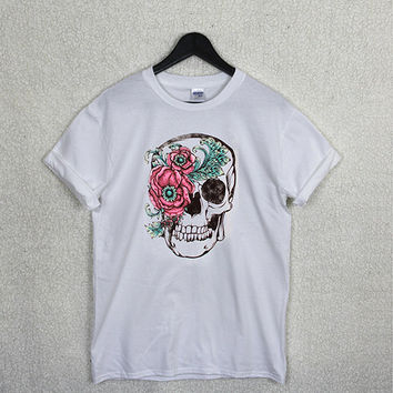 SKULL FLOWER T Shirt Top Unisex Summer Tribal Rose