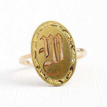 W Signet Ring - 10k Yellow Gold Edwardian Initial Statement - Size 5 1/4 Vintage Fine Cufflink Etched Letter Personalized Conversion Jewelry