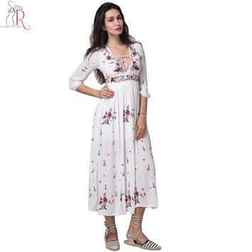 White  Lace Up Embroidery Floral Maxi Long Dress Sexy Deep V Neck Three Quarter Sleeve Boho Skater Dress Spring Women