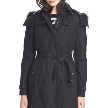 Women's Burberry Brit 'Fenstone' Genuine Fox Fur Trim Trench Coat with Detachable Hood & Liner,