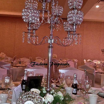 "10 Wedding Crystal acrylic globe candelabra 9 arms with dripping prism set of 10 42"" in tall. Candelabra wedding centerpiece. 1,399.00"