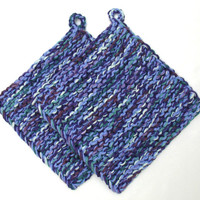 Pot Holder Hot Pad Knit Cotton Potholder Trivet Purple Blue