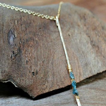 Raw Diamond Bar Necklace - Silver and Gold