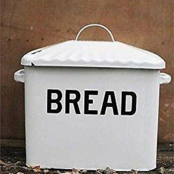 Vintage Style Enamel Bread Box Antiqued White Large Metal Bin Enamelware