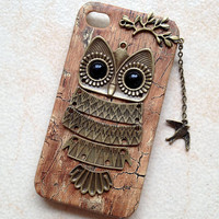 Owl with Branch ,bird pendant --Wood color  PU leather Hard Case Cover for  iPhone 4/4S case