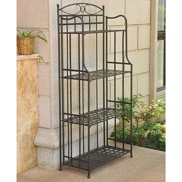 Black Powdercoated Iron Bakers Rack for Outdoor or Indoor Use
