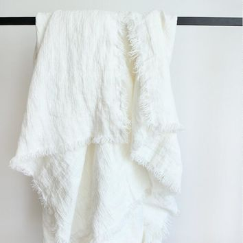 Pure White French Linen Blanket - Free Shipping