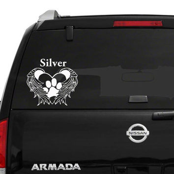 Personalized Pet Memorial Wings Paw Heart approximately 9 in. x 8 1/2 in. vinyl decal. Please Put Color in Note To Seller