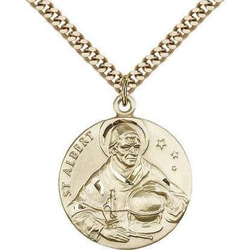 "Saint Albert The Great Medal For Men - Gold Filled Necklace On 24"" Chain - 30... 617759502190"
