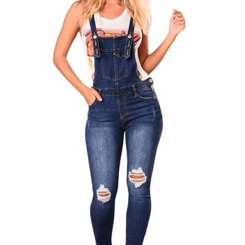 Women's Dark Blue Denim Laidback Distressed Overalls