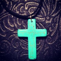 Long Cross Necklace- Teal from PB&J Designs