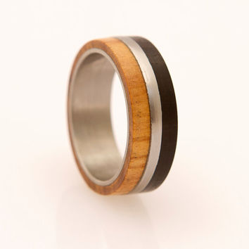 Mens Wedding Band with Olive and Ebony  wood and Titanium Ring
