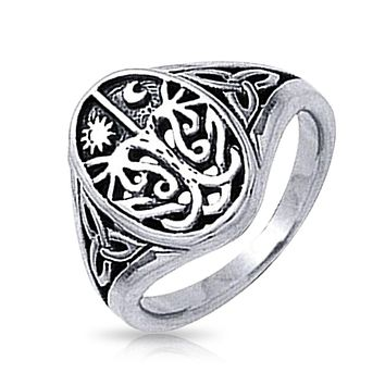 Celtic Night Day Sun Moon Tree of Life Signet Ring 925 Sterling Silver