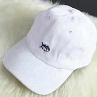 Vintage Embroidery Fish Baseball Cap Unique Hat Summer +Free Gift Tatto Choker Necklace