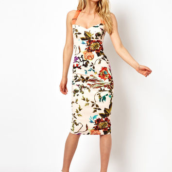 Ted Baker Floral Midi Dress with Contrast Straps