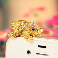 For Samsung Galaxy S4 PWD0037  for Iphone Bling Diamond Gem Cap Earphone Jack elephant Anti Dust Plug 3.5mm