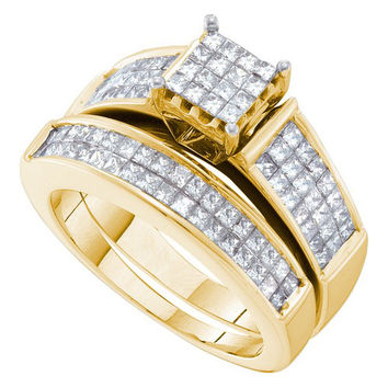 Diamond Invisible Trio Set in 14k Gold 2.17 ctw