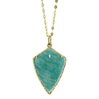 Amazonite Shield Pendant with Diamonds