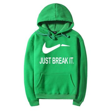 JUST BREAK IT Fashion Casual Long Sleeve Hooded Print Pullover Sweater-2