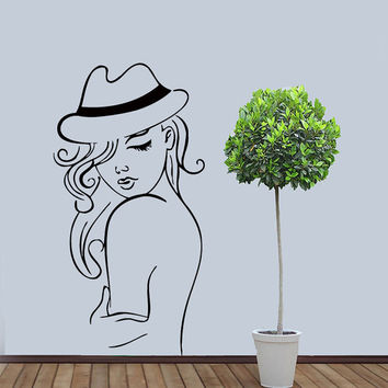 Wall Vinyl Sticker Decal Fashion Lady with Hat Beauty Saloon Art Design Room Nice Picture Decor Hall Wall Chu1409