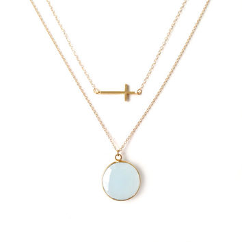 Light Blue Chalcedony Necklace, Gold Layer Necklace, Sideways Cross Necklace, Blue Necklace, Something Blue, 14k Gold Filled Chain
