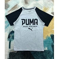 PUMA men and women couples casual retro college style color matching short sleeves F-XMCP-YC grey