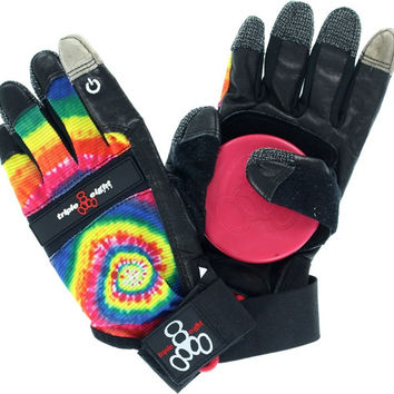 Triple 8 Downhill Slide Gloves Large/XLarge Tie Dye/Black