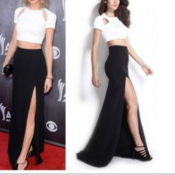 FASHION HOT BLACK AND WHITE TWO PIECE DRESS