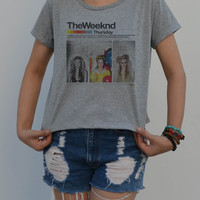The Weeknd Canadian Rocker Pop Rock Band - women's Crop t-shirt - singlet  Billboard Hot music sexy summer ( M - L )