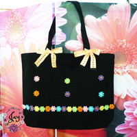 Colorful flower lace tote bag bow bag 18x14 inch/ Cute tote/ large cotton bag/ shopping bag/ books tote bag/
