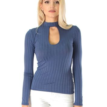 Lyss Loo Glamorous Ribbed Blue Long Sleeve Cut-Out Top