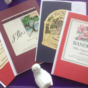 Vintage Wine Labels Cards Handmade Notecards Blank Parchment Liner Set Stationary Paper Goods Wine Cheese Hostess Winery Gift Invitations