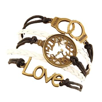 Multi 5 Layer Love, Faux Clock, Handcuff Charms Wrap Bracelet Faux Brown/White Leather/Suede