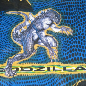 Godzilla TWIN Size Flat Bed Sheet Kids Bedding Boys Bedding Godzilla Fabric Boy Fabric Movie Bedding 1998 Made in USA UNUSED
